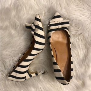JCrew navy and cream striped pumps